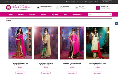 Screenshot of Home Page pinkculture.in - Online shopping India,Online Shopping for women, Online shopping women,Bridal Sarees, Wedding Collection, Designer Lehengas, Traditional Sarees, Salwar Kameez,Pink Culture India - captured Sept. 25, 2014