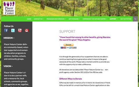 Screenshot of Support Page placernaturecenter.org - Support | Placer Nature Center - captured May 18, 2017