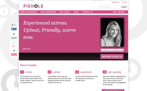 Screenshot of Home Page piehole.ie - Irish Voiceovers | 100% Reviewed Irish Voice Over Artists | Voice Over Work Dublin | Voice Over Jobs Ireland - captured Sept. 17, 2014