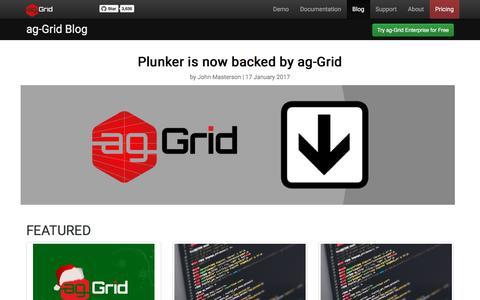 Screenshot of Press Page ag-grid.com - ag-Grid Blog - captured Jan. 23, 2018