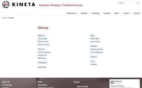 Screenshot of Site Map Page kinetabio.com - Site Map – Kineta Inc. - captured Oct. 15, 2018