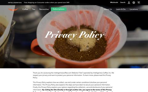 Screenshot of Privacy Page intelligentsiacoffee.com - Privacy Policy - captured Dec. 9, 2016