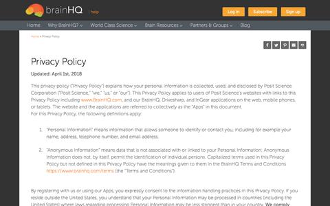 Screenshot of Privacy Page brainhq.com - Privacy Policy | BrainHQ from Posit Science - captured July 12, 2018