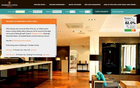 Screenshot of Home Page edinburghcapitalhotel.co.uk - Edinburgh hotels with parking and Wifi | Edinburgh hotel accommodation | cheap Edinburgh hotel deals - captured Sept. 29, 2014