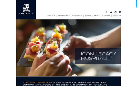Screenshot of Home Page iconlegacy.ca - Icon Legacy Hospitality - captured Jan. 25, 2015