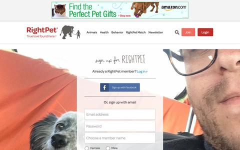 Screenshot of Signup Page rightpet.com - Get Started with RightPet to Find the Right Pet Fo... - captured Sept. 24, 2018
