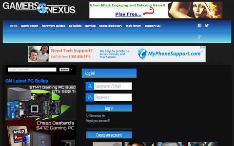 Screenshot of Login Page gamersnexus.net - GamersNexus, LLC | Gamers Nexus - Gaming PC Builds & Hardware Benchmarks - captured July 19, 2015