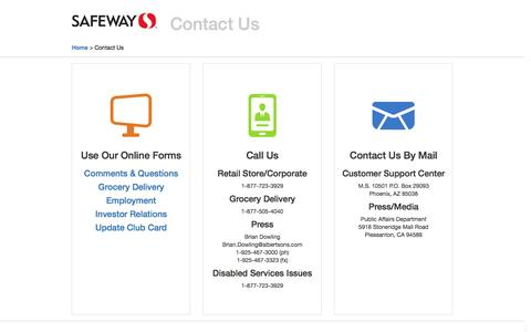 Screenshot of Contact Page safeway.com - Contact Us:  Landing - captured May 3, 2016