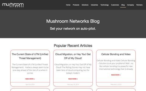Screenshot of Blog mushroomnetworks.com - Articles on SD-WAN & Internet Bonding | Mushroom Networks - captured Aug. 20, 2019
