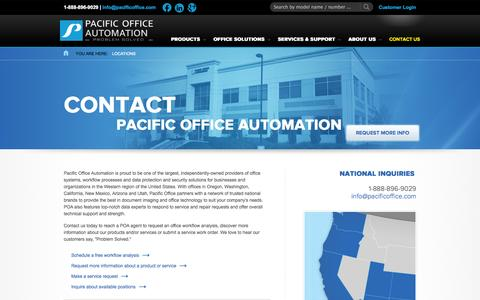 Screenshot of Contact Page Locations Page pacificoffice.com - Locations | WA, OR, CA, AZ & CO | Pacific Office Automation - captured Oct. 22, 2014