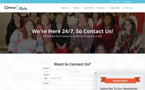 Screenshot of Contact Page omnicall.com - Contact Us | Call or Email Us at OmniCall Virtual Receptionist Services - captured Oct. 20, 2018