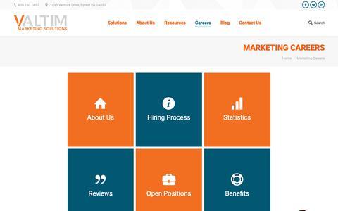 Screenshot of Jobs Page valtim.com - Valtim Marketing Careers - Entry Level & Senior Level Positions Available - captured Oct. 20, 2018