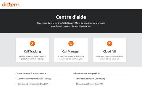 Screenshot of Support Page dexem.com - Centre d'aide Dexem - captured Dec. 9, 2018