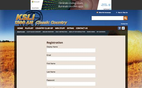 Screenshot of Signup Page 1280ksli.com - KSLI 1280 AM – Classic Country – Abilene Country Radio - captured May 9, 2016