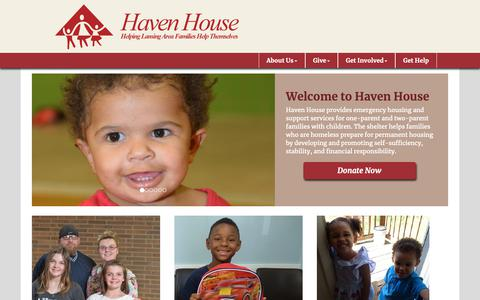 Screenshot of Home Page havenhouseel.org - Haven House of East Lansing - captured Sept. 27, 2018