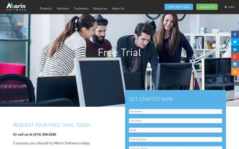 Screenshot of Trial Page marinsoftware.com - Free Trial | Marin Software - captured Oct. 1, 2015