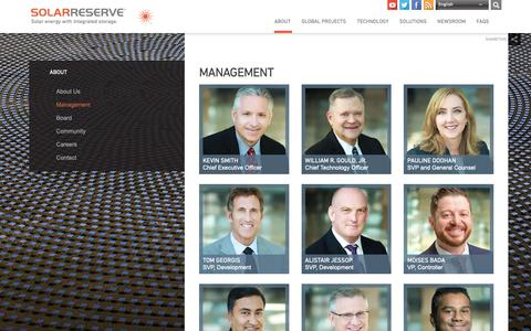 Screenshot of Team Page solarreserve.com - Management — SolarReserve - captured Oct. 20, 2018