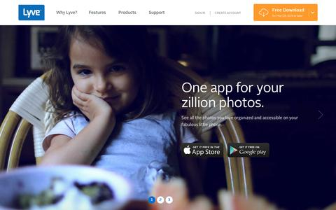 Screenshot of Home Page mylyve.com - Collect, Protect, and Rediscover Your Photos and Videos | Lyve - captured Nov. 30, 2015