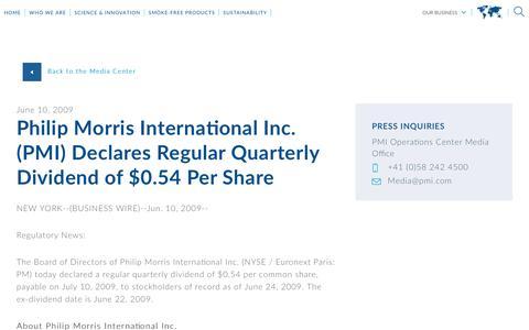 Screenshot of Press Page pmi.com - Philip Morris International Inc. (PMI) Declares Regular Quarterly Dividend of $0.54 Per Share - captured Nov. 1, 2018