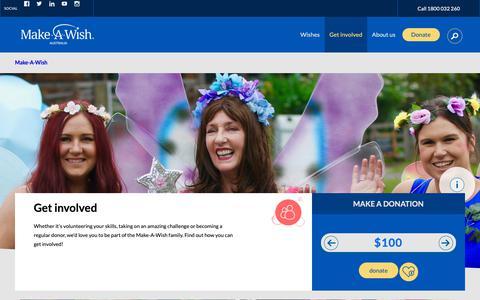Screenshot of Signup Page makeawish.org.au - Get involved | Make-A-Wish - captured Nov. 12, 2018