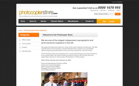 Screenshot of About Page photocopierstore.com - The Photocopier Store | About Us - captured Oct. 2, 2014