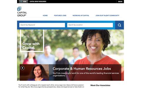 Screenshot of Jobs Page thecapitalgroup.com - Corporate & Human Resources Jobs - captured Nov. 7, 2017