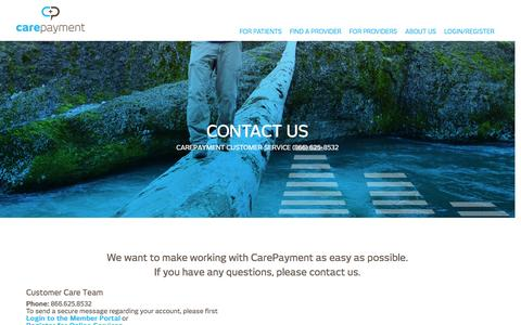 Screenshot of Contact Page carepayment.com - Contact Us - Patients and Healthcare Providers | CarePayment - captured June 29, 2016