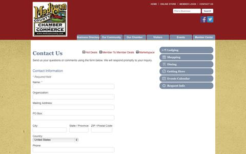 Screenshot of Contact Page madisoncounty.com - Contact Us - Madison County Chamber of Commerce - Madison County, IA - captured Oct. 3, 2014
