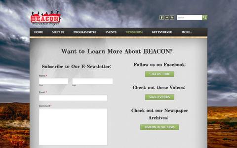 Screenshot of Press Page moabbeacon.net - Newsroom - BEACON Afterschool Program - captured Feb. 7, 2016
