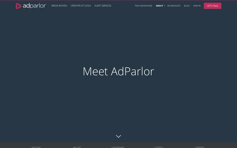 Screenshot of About Page adparlor.com - AdParlor. Facebook, Twitter, Instagram and YouTube Advertising. Social media marketing. - captured March 13, 2018