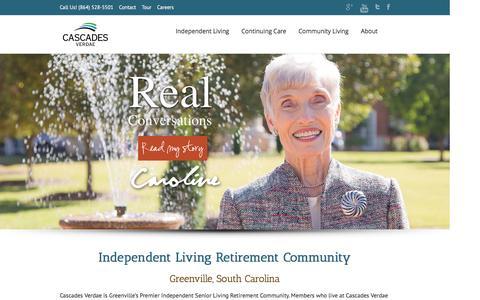 Screenshot of Home Page cascades-verdae.com - Cascades Verdae | Greenville SC Retirement Community - captured Dec. 7, 2015
