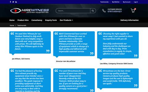 Screenshot of Testimonials Page hirewitness.co.uk - Testimonials - Hire Witness - Security Products and Crime Prevention Equipment Hire - captured Nov. 5, 2018