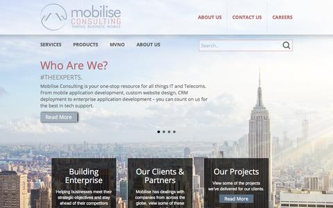 Screenshot of Home Page mobiliseconsulting.com - Telecoms & IT Consulting and Software Development | Mobilise - captured Sept. 30, 2014