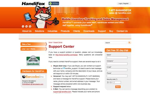 Screenshot of Support Page handifox.com - Support Center - QuickBooks Inventory - Stock Control Software - captured Sept. 30, 2014