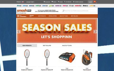 Screenshot of Home Page smashinn.com - Online tennis shop, buy online tennis & padel equipment - captured Jan. 14, 2016