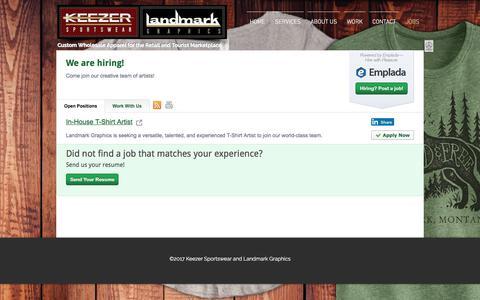 Screenshot of Jobs Page keezersportswear.com - keezer-landmark | JOBS - captured Oct. 17, 2017