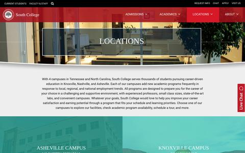 Screenshot of Locations Page southcollegetn.edu - Locations - South College - captured Oct. 23, 2017