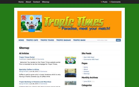 Screenshot of Site Map Page tropictimes.com - Sitemap  : Tropic Times - captured Oct. 1, 2014
