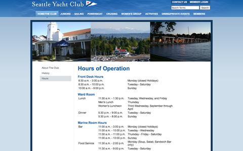 Screenshot of Hours Page seattleyachtclub.org - Hours - Seattle Yacht Club - captured Sept. 30, 2014