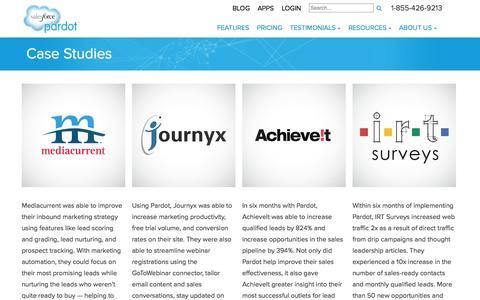 Screenshot of Case Studies Page pardot.com - Case Studies - Pardot - captured Sept. 18, 2014