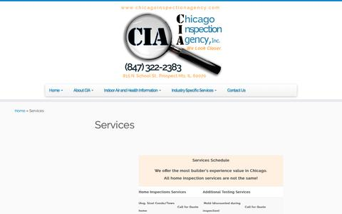 Screenshot of Services Page chicagoinspectionagency.com - Services - Chicago Inspection Agency - captured Sept. 27, 2018