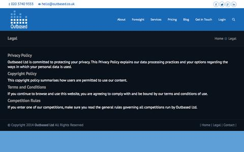 Screenshot of Terms Page outbased.co.uk - Outbased, Collaborative Accountants | Legal - Outbased, Collaborative Accountants - captured Oct. 9, 2014