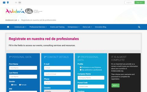 Screenshot of Signup Page andalucialab.org - Regístrate en nuestra red de profesionales - Andalucia Lab - captured July 25, 2016