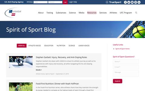 Screenshot of Blog usada.org - Spirit of Sport - Anti-Doping News | U.S. Anti-Doping Agency (USADA) - captured Sept. 27, 2018
