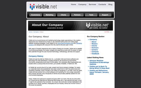 Screenshot of About Page visible.net - About- Company| Visible.net - captured Sept. 23, 2014