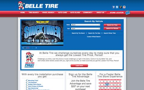Screenshot of Home Page belletire.com - Belle Tire Stores: Michigan - Ohio Tire and Wheel Experts, since 1922 - captured Sept. 25, 2014