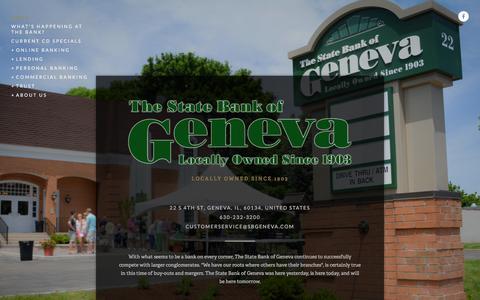 Screenshot of Home Page sbgeneva.com - The State Bank of Geneva - captured Feb. 16, 2016