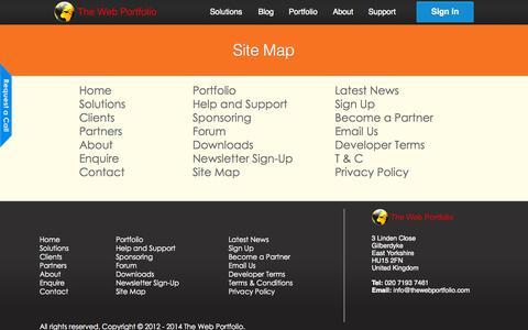 Screenshot of Site Map Page thewebportfolio.com - The Web Portfolio | Sitemap - captured Sept. 30, 2014