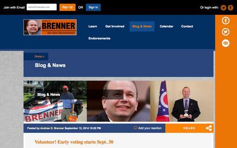 Screenshot of Blog andrewbrenner.com - Blog - State Representative Andrew O. Brenner - captured Nov. 3, 2014