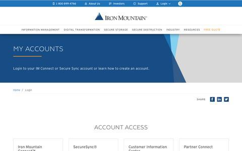Screenshot of Login Page ironmountain.com - Log into your Account | Iron Mountain - captured Dec. 3, 2018